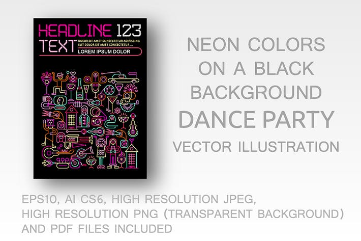 Thumbnail for Dance Party neon colors flyer design