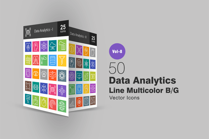 Thumbnail for 50 Data Analytics Line Multicolor B/G Icons