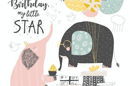 Tarjeta de felicitación de cumpleaños Vector con lindos elefantes