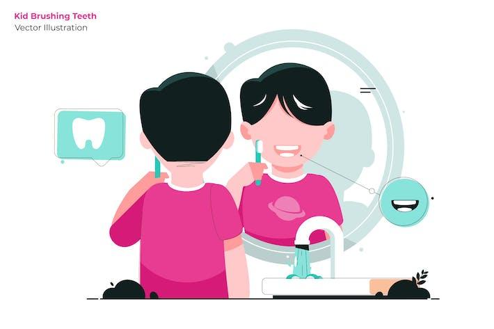 Thumbnail for Kid Brushing - Illustration Vecteur