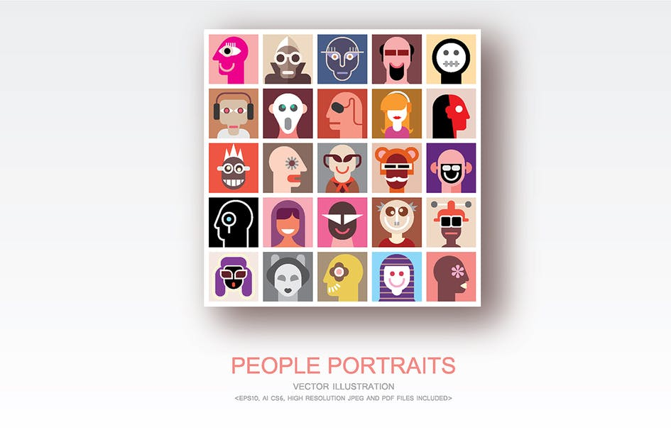 Download People Portraits vector flat style pop art collage by danjazzia