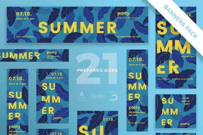 Thumbnail for Summer Party Banner Pack Template