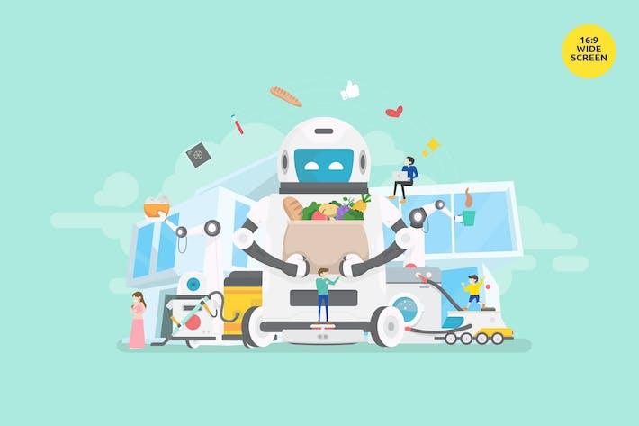 Thumbnail for Smart Home Robot Assistance Vector Concept