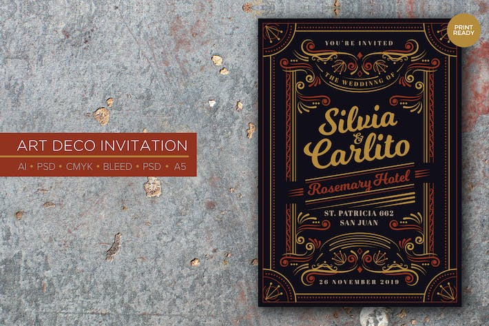 Cover Image For Art Deco Wedding Invitation PSD And Vector Vol.3