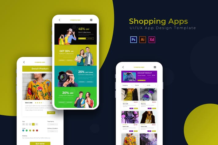 Thumbnail for Shopping Apps | App Design Template