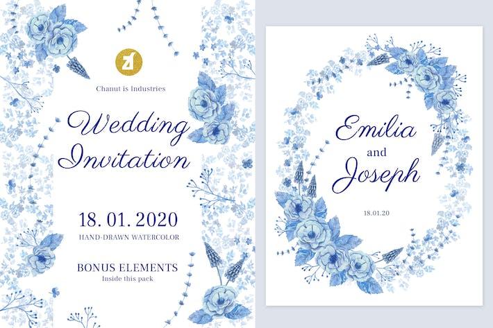 Thumbnail for Floral handgezeichnet Aquarell Hochzeit Einladung