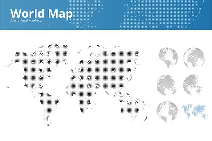 Thumbnail for Quadratische gepunktete Weltkarte und Erdkugeln