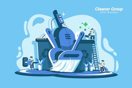 Grupo de limpieza: ilustración Vector