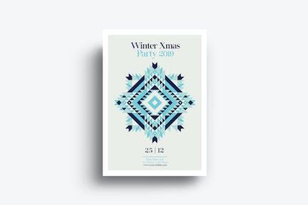 Minimal Winter Xmas Party Flyer