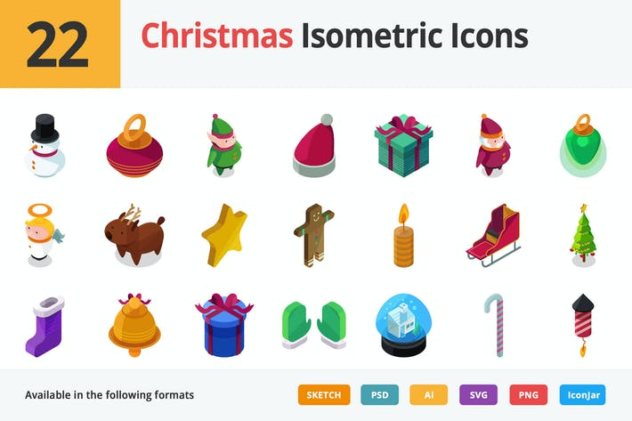 Thumbnail for Christmas Vector Isometric Icons