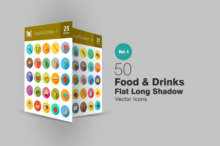 Thumbnail for 50 Food & Drinks Flat Long Shadow Icons