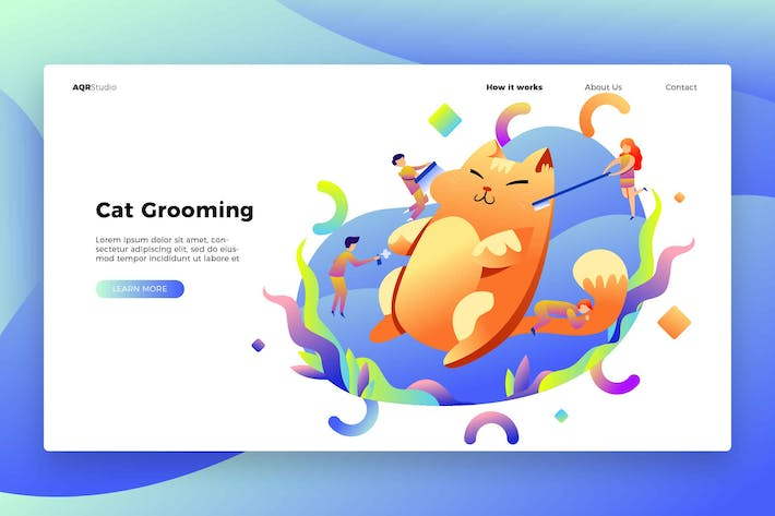 Thumbnail for Cat Grooming - Banner & Landing Page