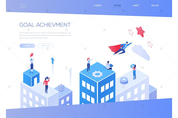 Thumbnail for Goal achievement - modern isometric web banner