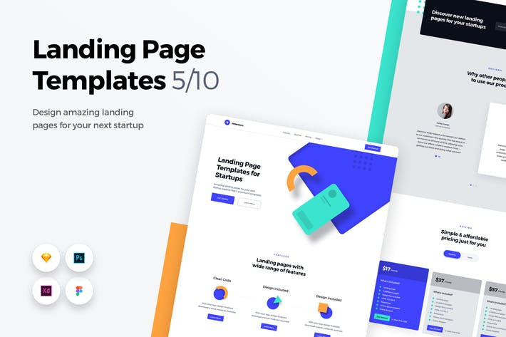 Thumbnail for Landing Page Templates - Web UI Kit - 5