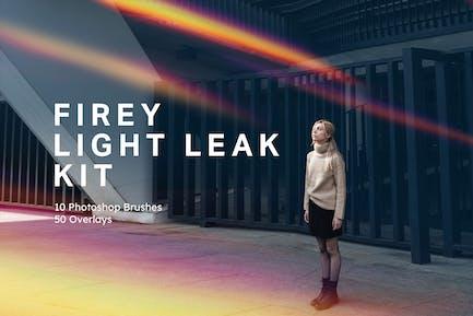 Firey Light Leak Kit - 10 Brushes & 50 Overlays