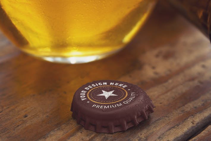 Thumbnail for Opened Beer Cap & Cup Mockup