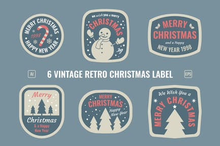 Christmas Retro Label / Badges