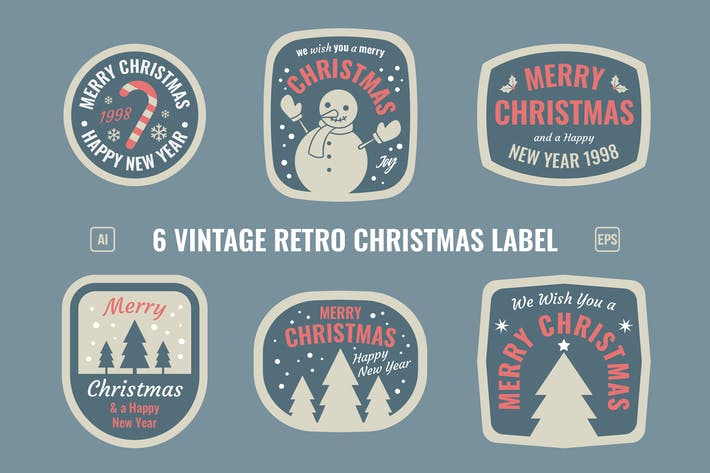 Thumbnail for Christmas Retro Label / Badges