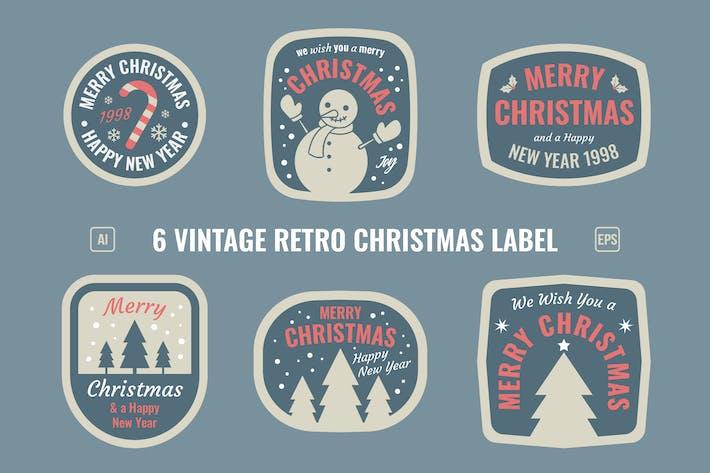 Weihnachts-Retro-Label/Abzeichen
