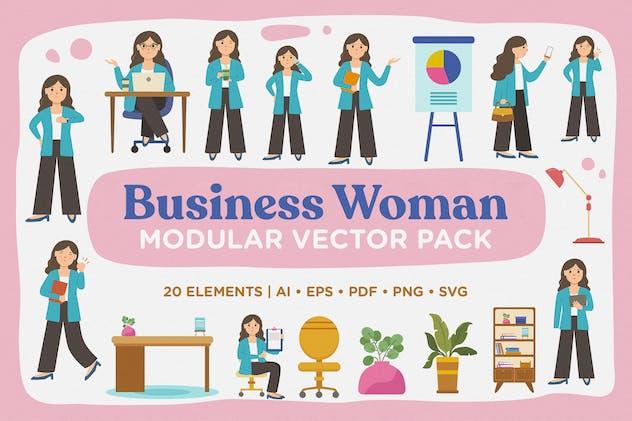 Business Woman Modular Vector Pack