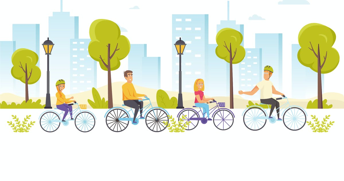 Download People Riding Bicycles Flat Scene Situation by alexdndz
