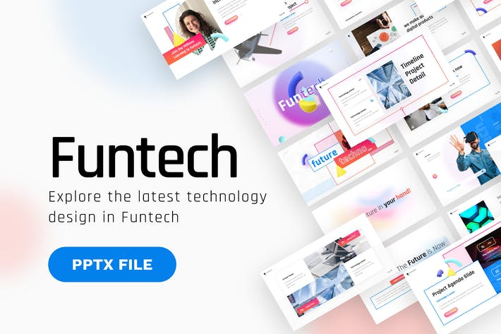 Thumbnail for Funtech Чистая технология PowerPoint Шаблон