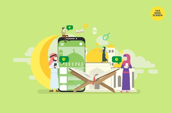 Cover Image For Islamic Community Mobile Application Vector Concep