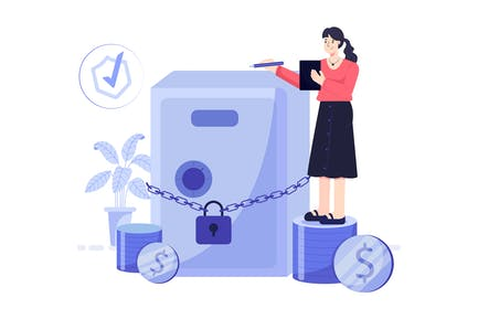 Money Savings Insurance With Locker And Chain Lock