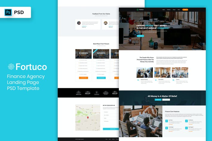 Thumbnail for Finance Agency - Landing Page PSD Template