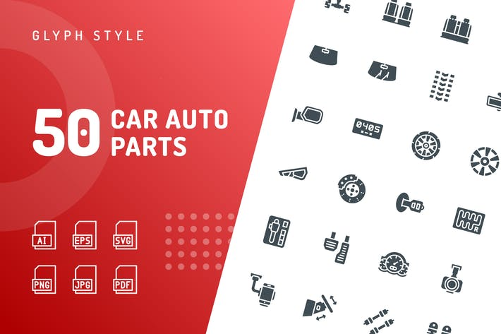 Thumbnail for Car Auto Parts Glyph Icons