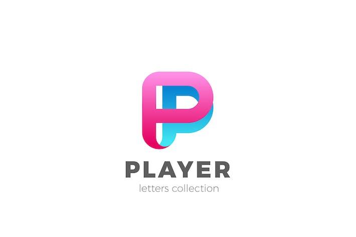 Letter P Logo design 3D Ribbon style