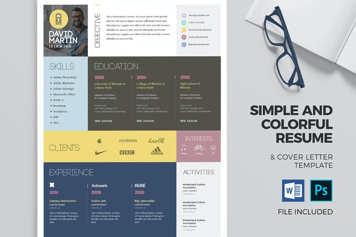 Thumbnail for Colorful Resume & Cover Letter Template