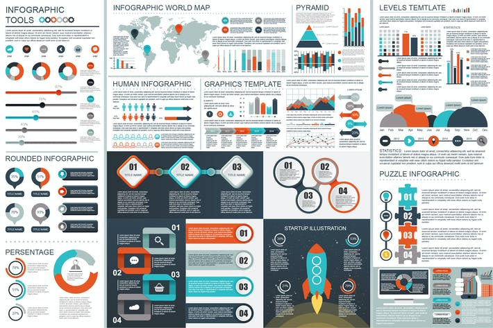 Download 13 infochart graphic templates on envato elements flat business infographic elements by alexdndz world map gumiabroncs Image collections