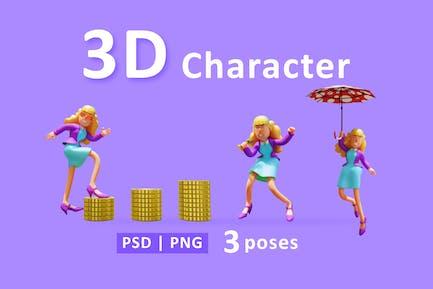 3D-Geschäftsfrau mit unterschiedlicher Pose