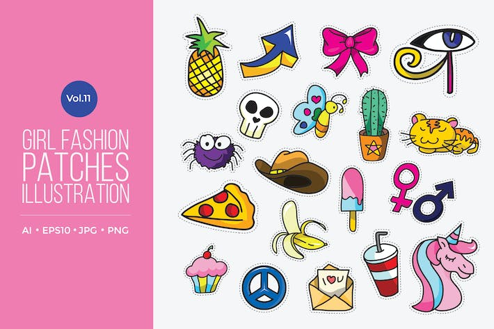 Cover Image For Girl Power Fashion Vector Patches Vol.11
