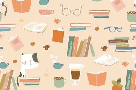 Vector Seamless pattern with Books, Cups