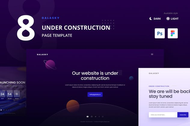 8 Under Construction Pages Website Template