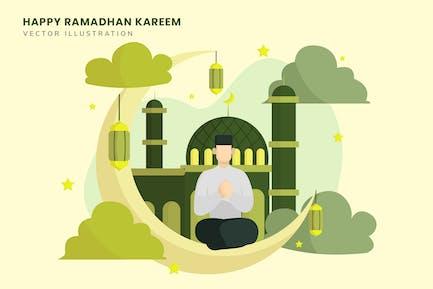 Ramadhan Kareem Vector Flat Illustration