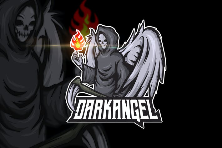 Thumbnail for Dark Angel - AI and PSD Esport Logo Template