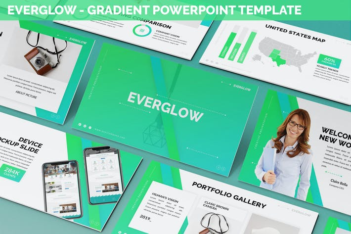 Thumbnail for Everglow - Gradient Powerpoint Template
