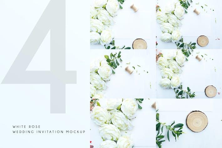 Thumbnail for White Rose Wedding Invitation Mockup