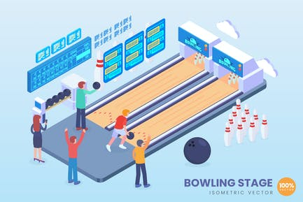 Isometric Bowling Alley Stage Vector Concept