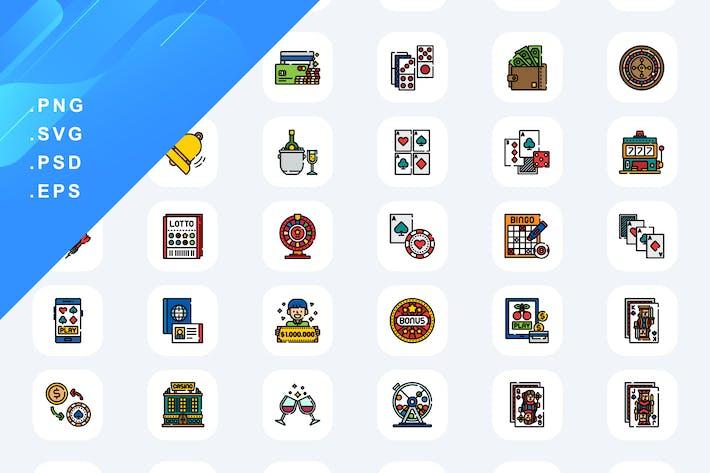 50 Icons für Glücksspiele und Wettdienste