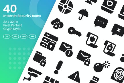 40 Internet-Sicherheits-Icons Set - Glyphe