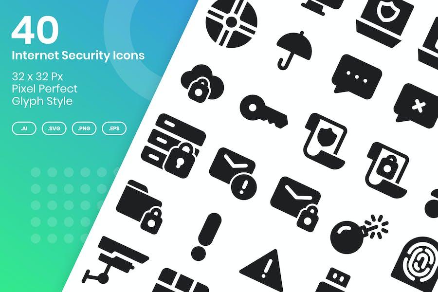40 Internet Security Icons Set - Glyph