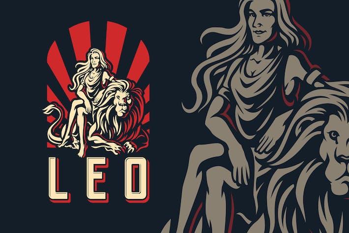 Leo Zodiac Sign Logo Template