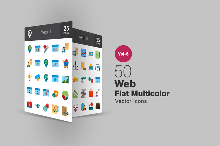 Thumbnail for 50 Web Flat Multicolor Icons