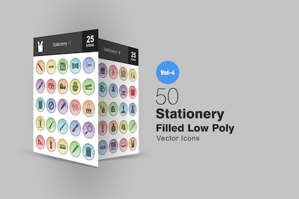50 Stationery Filled Low Poly Icons
