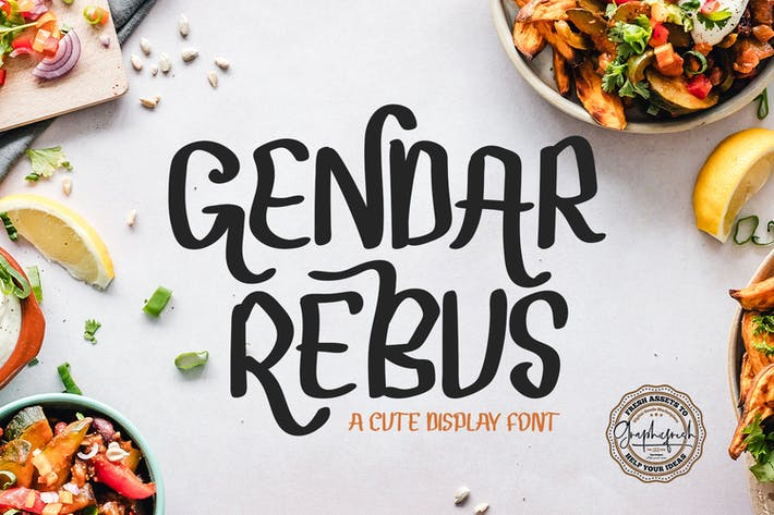 Cover Image For Gendar Rebus - A Cute Display Font