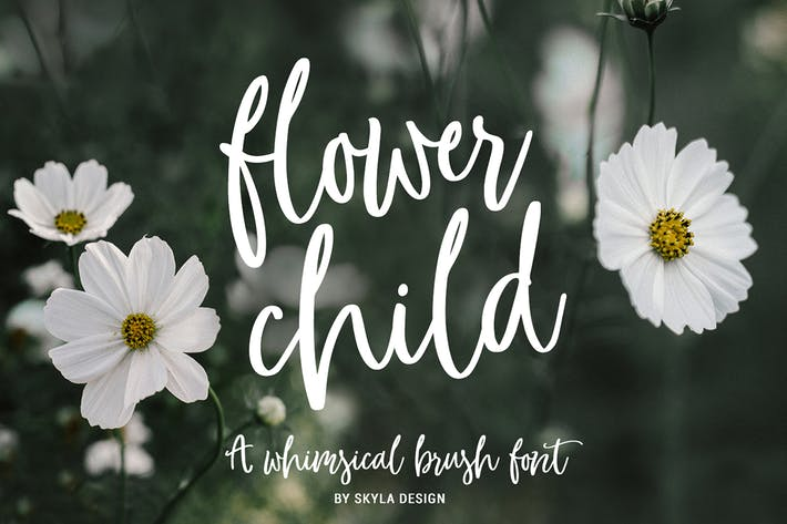 Thumbnail for Whimsical brush font, Flower Child